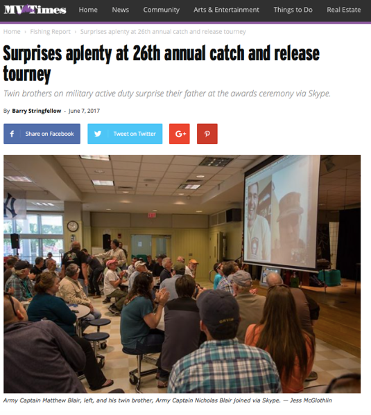 "Images from Martha's Vineyard Catch-and-Release Tournament. <br /> <br /> <a href=""http://www.mvtimes.com/2017/06/07/surprises-aplenty-26th-annual-catch-release-tourney/"">http://www.mvtimes.com/2017/06/07/surprises-aplenty-26th-annual-catch-release-tourney/</a>"