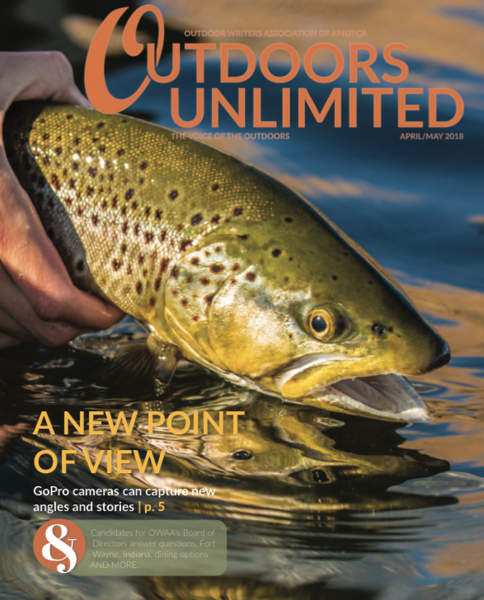 Cover magazine image of the Outdoor Writers Association of America magazine, Outdoors Unlimited, of a Montana Missouri River brown trout by Jess McGlothlin Media.