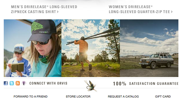 Orvis email campaign (first and third image).