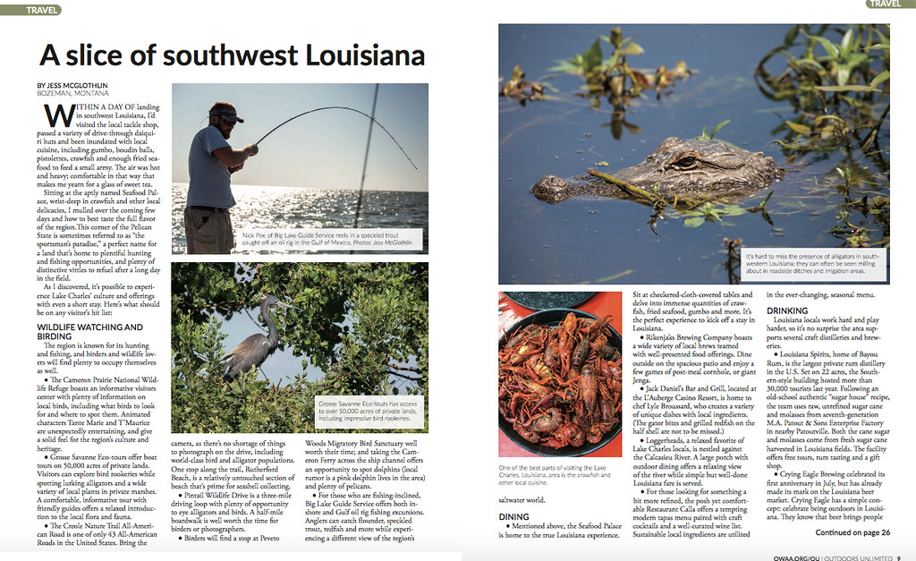 """Jess McGlothlin Media writes about the realities of being an outdoor fishing photographer and traveling in the Lake Charles area of southwest Louisiana for Outdoors Unlimited magazine, publication of the Outdoor Writers Association of America.<br /> <br /> <a href=""""http://owaa.org/oudocs/October-November-2017.pdf"""">http://owaa.org/oudocs/October-November-2017.pdf</a>"""