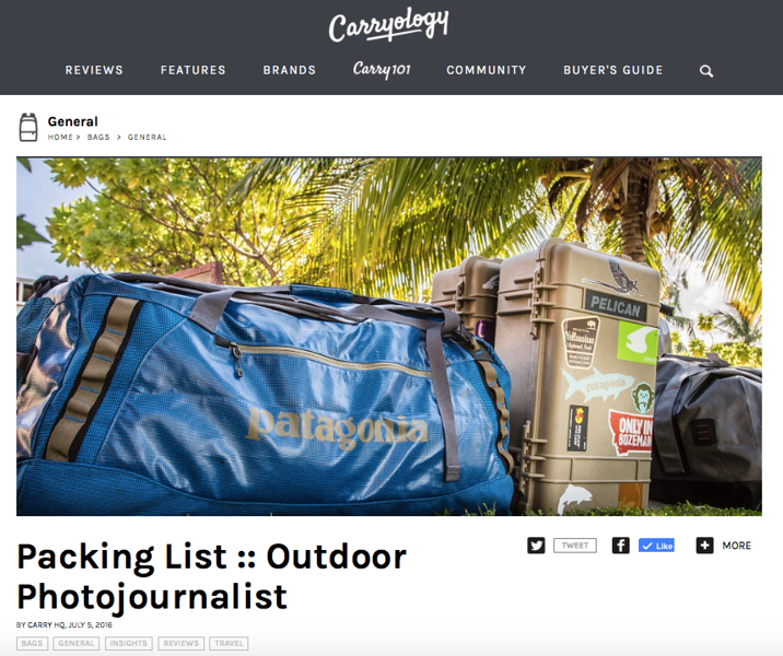 """Carryology feature, July 2016.<br /> <br /> <a href=""""http://www.carryology.com/bags/packing-list-outdoor-photojournalist/"""">http://www.carryology.com/bags/packing-list-outdoor-photojournalist/</a>"""