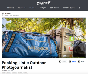 Carryology feature, July 2016.  http://www.carryology.com/bags/packing-list-outdoor-photojournalist/