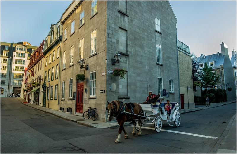 Canada Quebec City Upper Old Town September 2015 Rue Des Jardins at Donnaconda Horse and Buggy