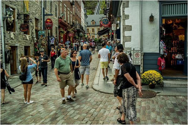 Canada Quebec City Old Town September 2015 Cote de Montagne Crowd 1
