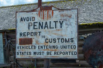 Customs sign in Molson, Wa