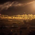 Nighttime exercises with live fire training. U.S. Army recruit training. Fort Leonard Wood, Missouri.