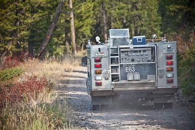Fire crew traffic. Southwestern Montana.