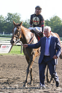 Ginger Punch (Awesome Again), Rafael Bejarano up, returns with Frank Stronach after winning the G1 Personal Ensign at Saratoga 8.22.2008sk
