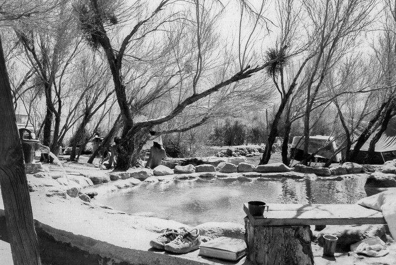 Early lower pool, lots of mesquite trees, dory on the lawn in the background (upside down), mistletoe in the trees. The berm at the lower edge of the lawn is probably the fish pond being dug out, which happened regularly, sometimes due to flash floods filling it in. Notice the wall tent next to the dory