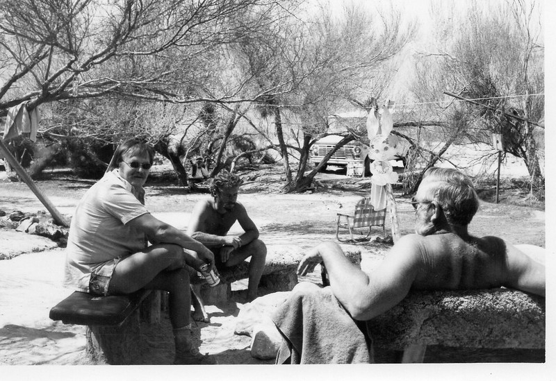 Desert Rich, Lucky Rich, Big Al, sitting at the fire ring next to the lawn, looking down toward the gold fish pond.