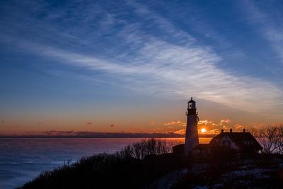 January sunrise at Portland Head Lighthouse in Cape Elizabeth, Maine.