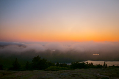Sunset from Blue Hill Overlook on Cadillac Mountain, Acadia National Park, Maine.