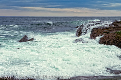Waves on the rocks at Sohier Park near Nubble Lighthouse in York, Maine.