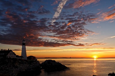 Summer sunrise at Portland Head Lighthouse, Cape Elizabeth, Maine.