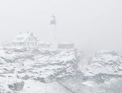 Northeaster at Portland Head Lighthouse in Cape Elizabeth, Maine.