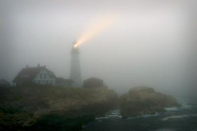 July fog at Portland Head Lighthouse, Cape Elizabeth, Maine
