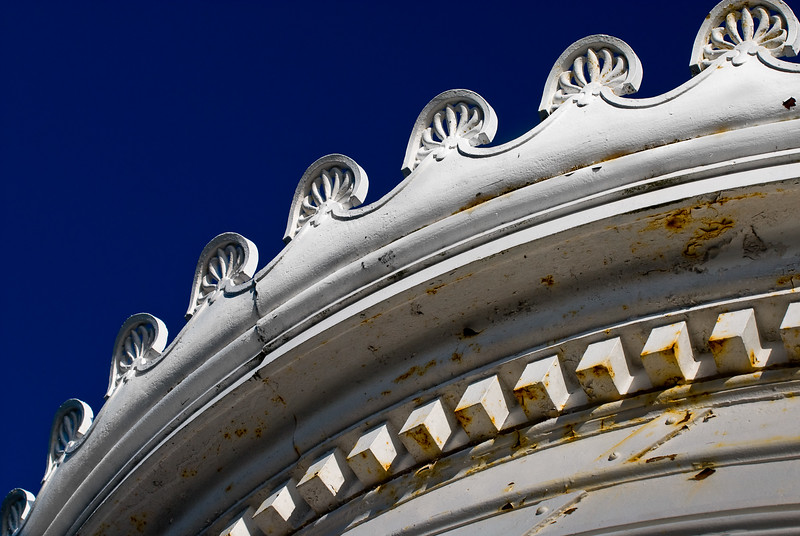Faded Elegance.Detail of the roof line at Bug Light Lighthouse-South Portland-Maine