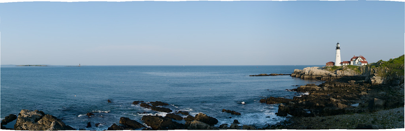 Ram Ledge and Portland Head Lighthouses in Cape Elizabeth, Maine.