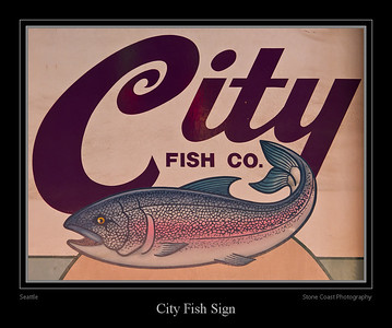 The City Fish Co. sign inside the Seattle Public Market.