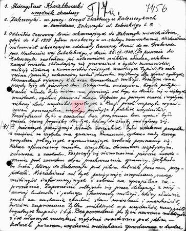 594. Свідчення заліщанина Мечислава Квятковського про події в Заліщиках в 1939 році
