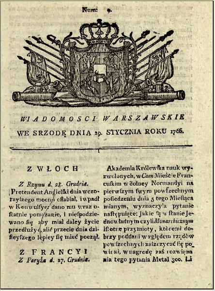 """803. Газета """"Варшавські відомості"""" від 29 січня 1765 року - тут вміщена перша газетна кореспонденція з Заліщиків."""
