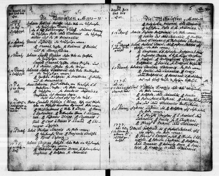 Сторінки з метричних книг протестентської парафії в Заліщиках з записами 1774 року.