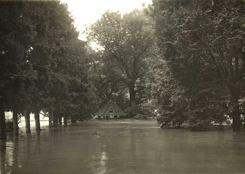 36. Парк баронів Бруніцьких під час повені на Дністрі. 1900-ті. рр.