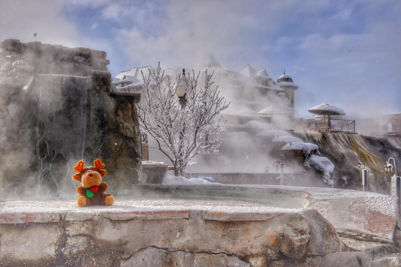 Chris is undaunted at the 1 degree morning, enjoying the Waterfall Pool.