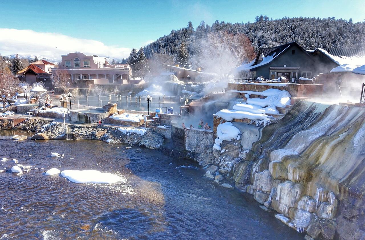 Pagosa Springs, Colorado.  Over twenty individual pools on the side of the San Juan River.
