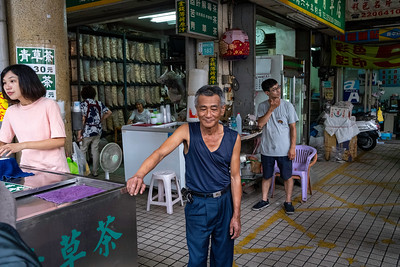 Street market grass jelly vendor and his daughter, Tainan 2019.