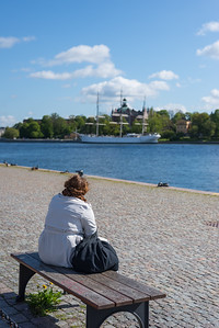 Woman on a quay, Stockholm, May 2015