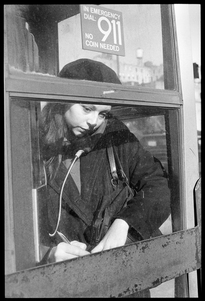 Woman in phone booth, New York City, 1987.