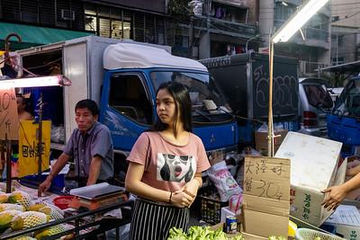 Street market produce vendors, Taipei 2019.