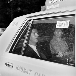 Couple in a taxi, New York City, 1986.