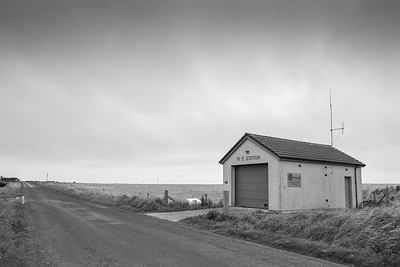 The community fire station building at the centre of the island of Stronsay, Orkney, Scotland.
