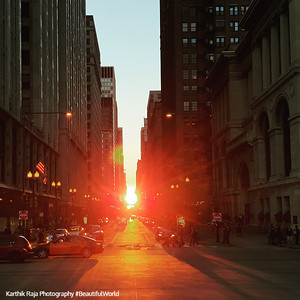 September Equinox in Chicago, the sun filters through