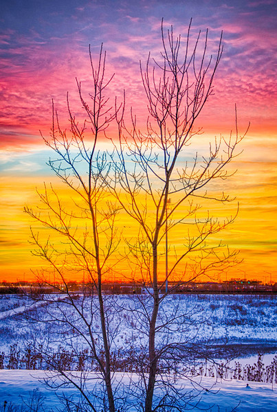 Sunset via HDR North of Chicago 1-3-14