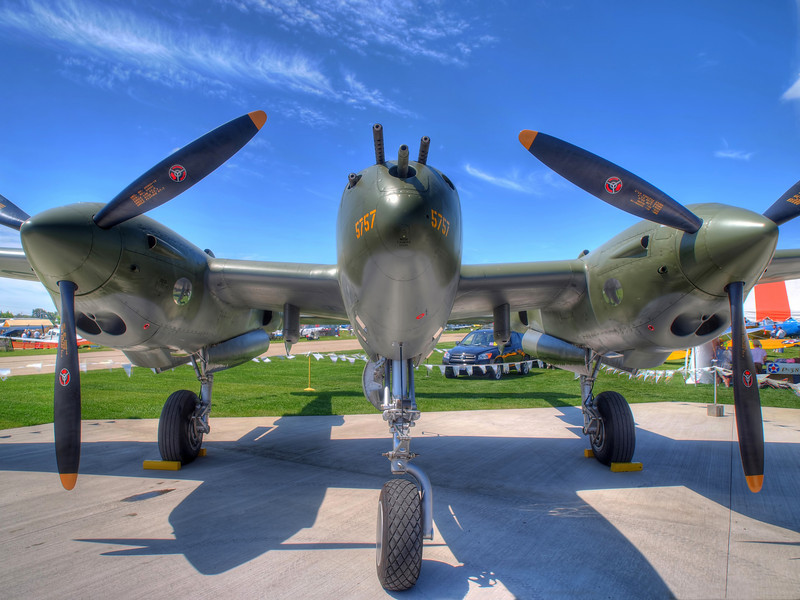 P-38 Glacier Girl at AirVenture - HDR - 26 July 2010