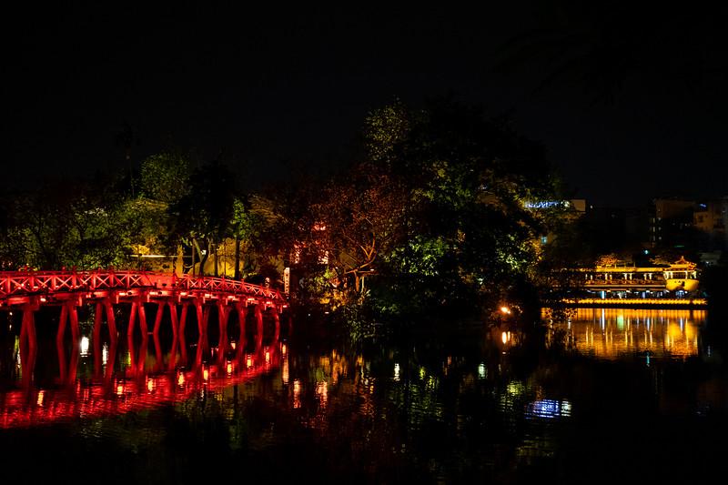 Bridge to the Ngoc Son temple in Hanoi at night.