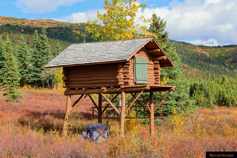 The food cache, one of the original structures built by Morton, Ginny and Celia, still stands today.
