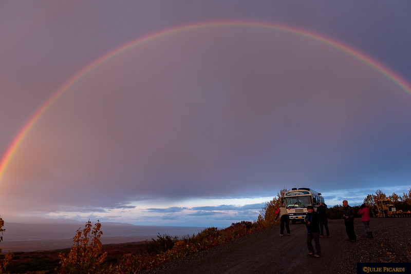Full rainbow at dawn - a sign of good luck? The arc was so immense, I couldn't capture the end points.