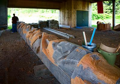Totem pole under construction, Haida Heritage Center, Skidegate