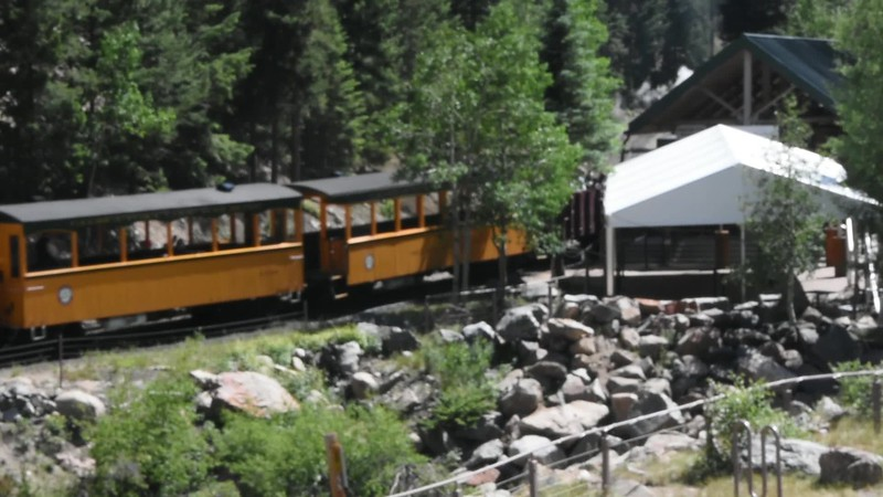 Video: As we watch from the parking lot, the next train pulls in to Devil's Gate.