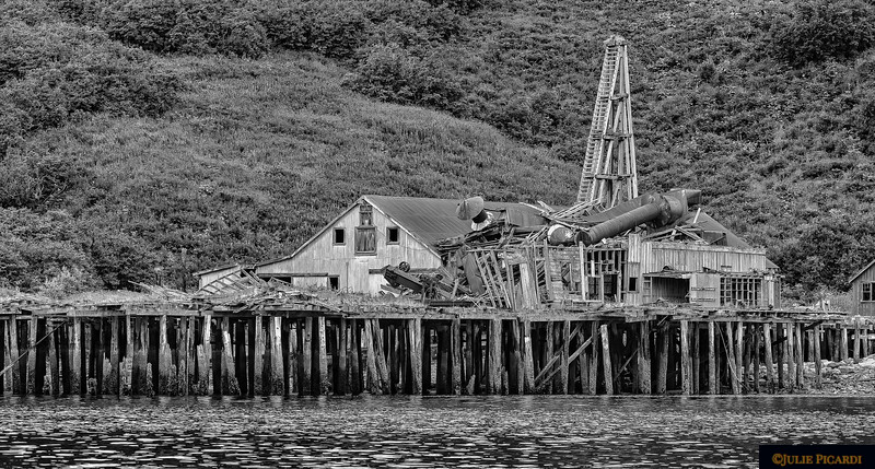 Black and white image of an old cannery.