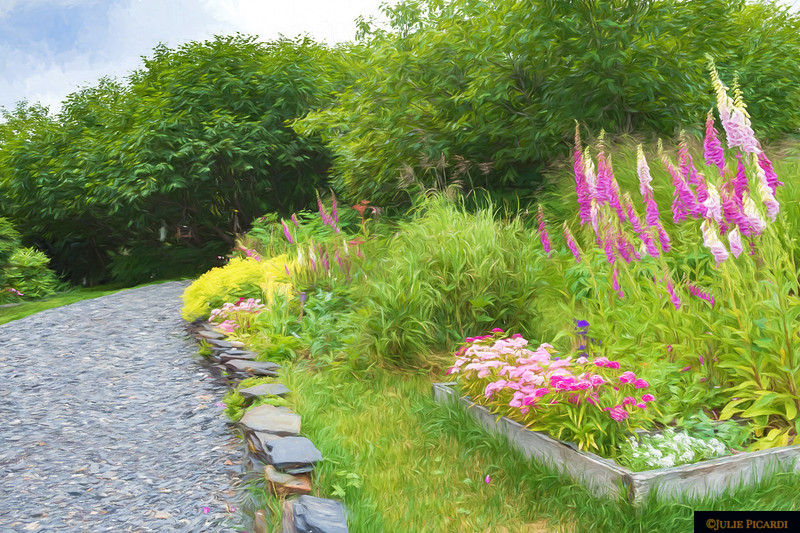 One of Pam's lovely gardens and pathways around the property.