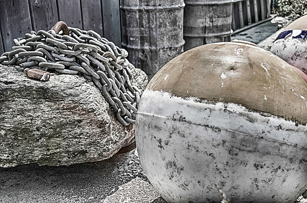 Discarded Mooring in Grayscale