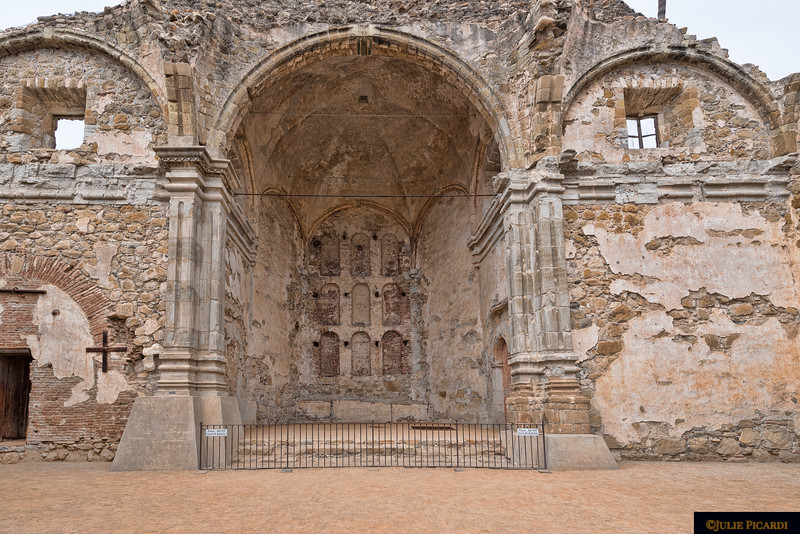 The ruins of the Great Stone Church, built of sandstone.