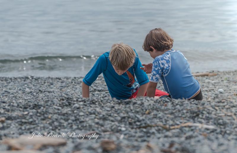 Boys exploring the beach