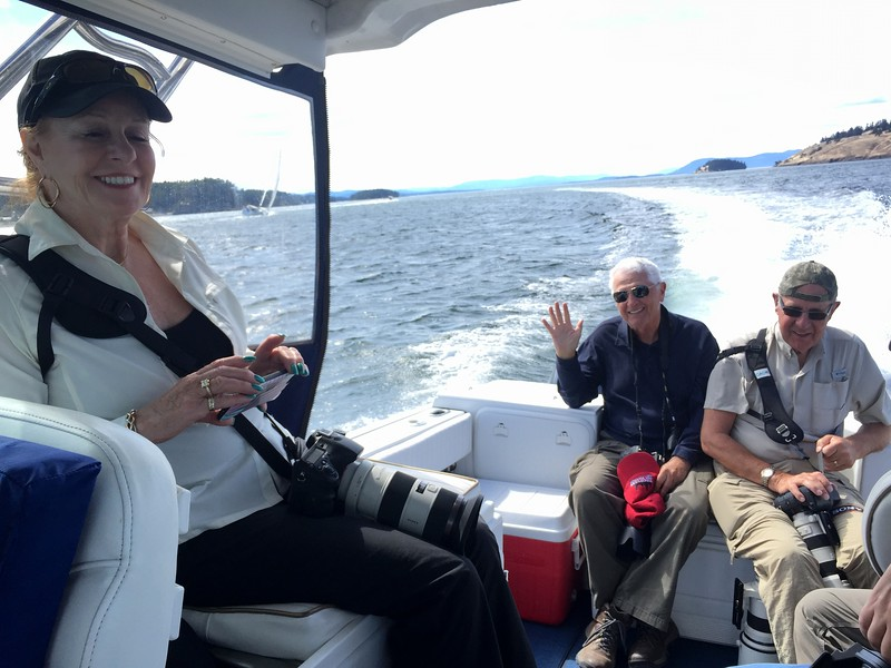 Lin, Jim and Roger as we speed out to the sea looking for the whales.