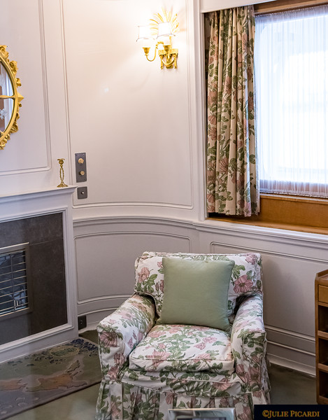 The queen's chair where she enjoyed reading privately in her stateroom.